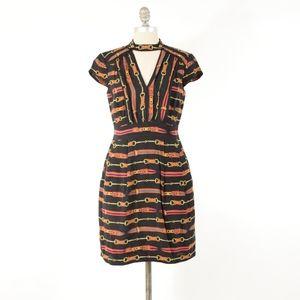 Nanette Lepore High-Neck Belt-Buckle Mini Dress
